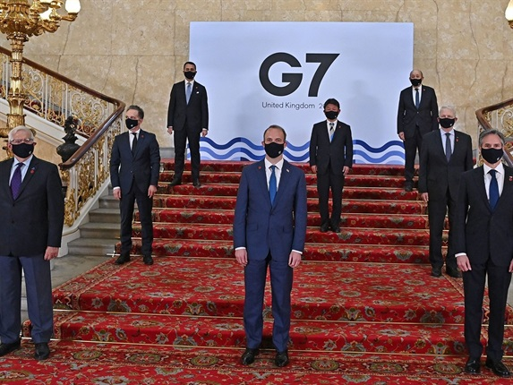 <p><strong>Two Covid cases have been confirmed among the Indian delegation attending the London G7 meeting</strong></p><p>India's foreign minister is self-isolating after two members of the country's delegation to the G7 meeting in London have tested positive for Covid-19.</p><p><strong>Image: </strong>G7 Foreign Ministers (left to right): European High Representative of the Union for Foreign Affairs, Josep Borrell, German Foreign Affairs Minister Heiko Maas, Italy's Foreign Minister Luigi Di Maio, Britain's Foreign Secretary Dominic Raab, Japan's Foreign Minister Toshimitsu Motegi, French Foreign Affairs Minister Jean-Yves Le Drian, Canada's Foreign Affairs Minister Marc Garneau, and US Secretary of State Antony Blinken. (Ben Stansall/POOL/AFP via Getty Images)</p>