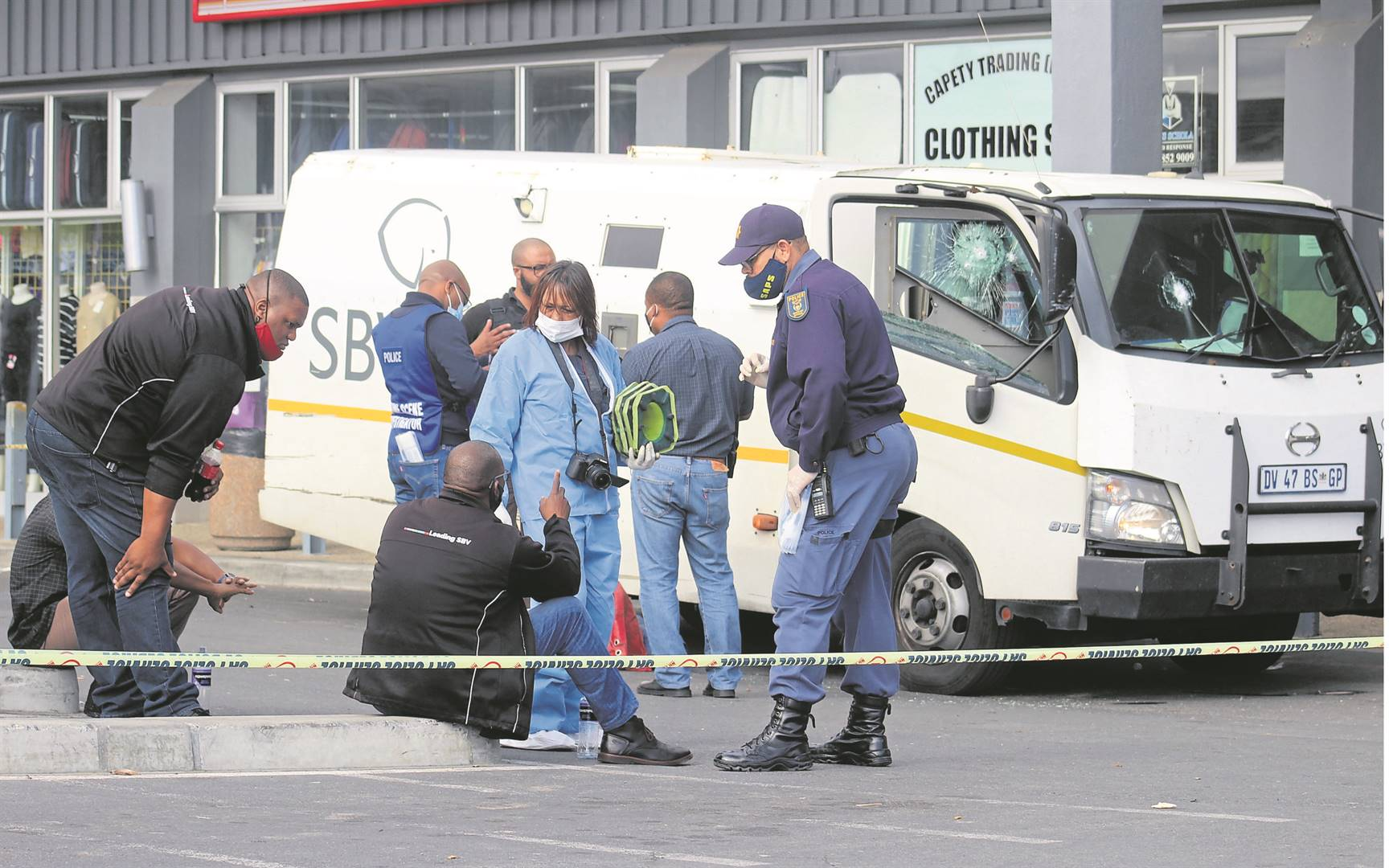 The scene in Macassar where a cash-in-transit heist ended in a shootout with police.