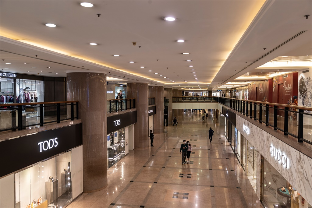 The Harbour City Shopping Mall - one of the Hong Kong's premier shopping destinations usually full of shoppers, was nearly empty on Monday amid concerns about the coronavirus. Photo: Getty Images