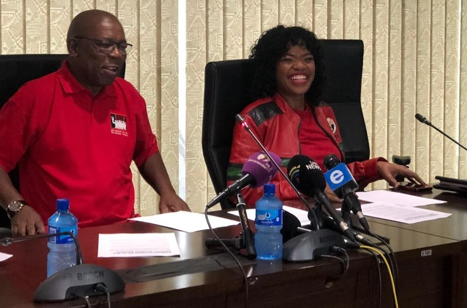 (Left) Cosatu president Zingiswa Losi and secretary-general Bheck Ntshalintshali. The union leadership addressed the media on the outcomes of the Central Executive Committee which concluded on February 24. Picture: Juniour Khumalo.