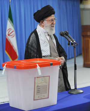 The Iranian supreme leader Ayatollah Ali Khamenei addressing officials after casting his vote in Tehran. (AFP)