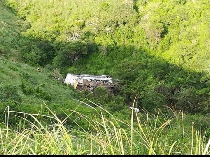 The bus that overturned in the Eastern Cape.