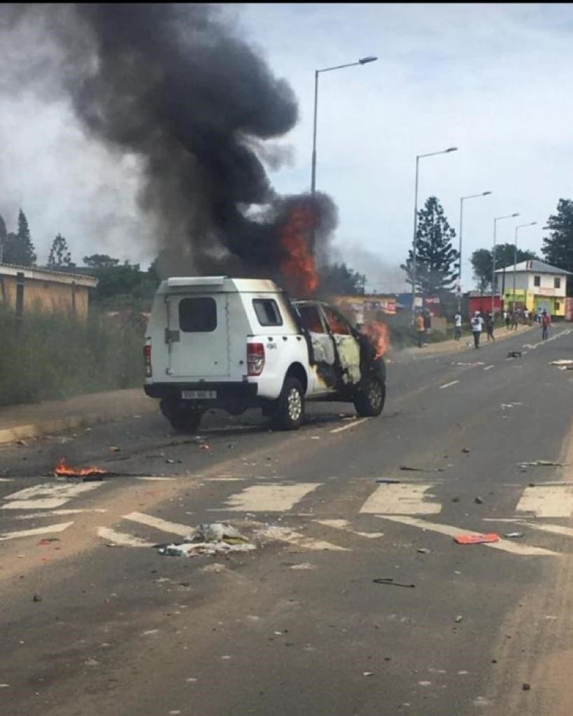 A police van was torched during protests at the University of Zululand in KZN on Monday.