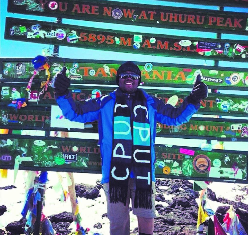 Zizipho Ndlwana (29) on his first summit in 2014. Ndlwana will become the first transtibial (below the knee) amputee to summit Mount Kilimanjaro for a second time in just six years.