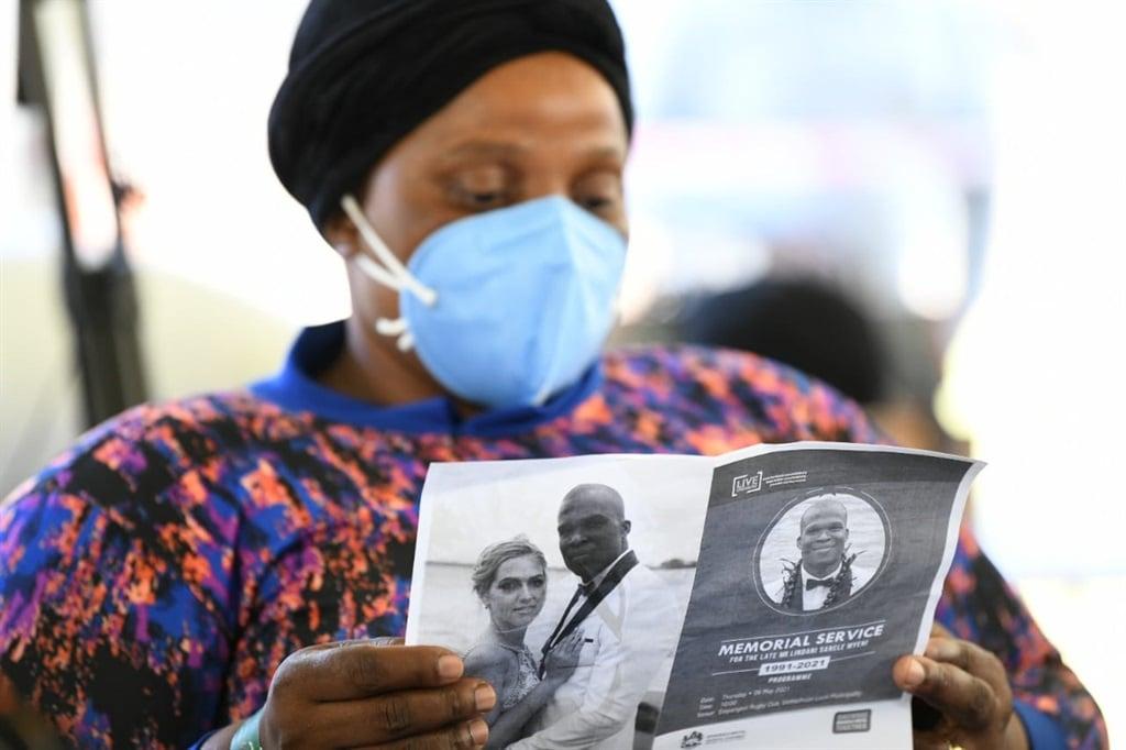 Mourners at the Lindani Myeni memorial in KwaZulu-Natal