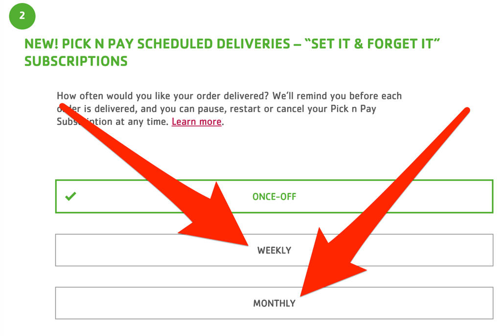 Pick n Pay scheduled delivery