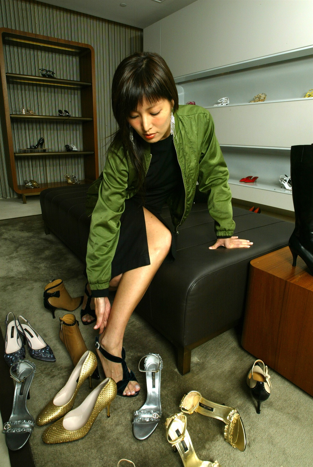 Valerie Chow Kar-ling at Sergio Rossi shoe shop in