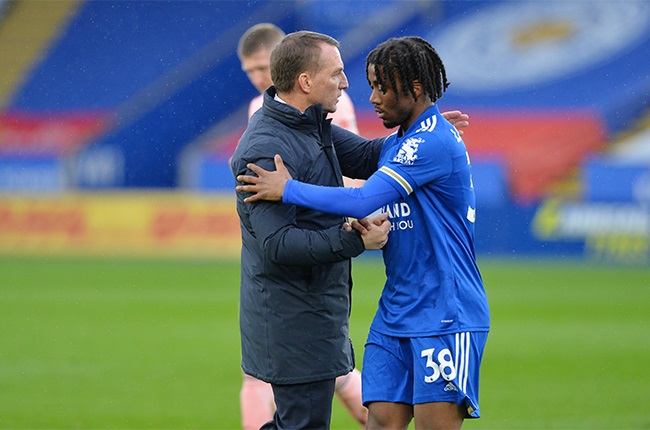 Leicester City Manager Brendan Rodgers with Khanya Leshabela of Leicester City after the Premier League match between Leicester City and Sheffield United. (Photo by Plumb Images/Leicester City FC via Getty Images)