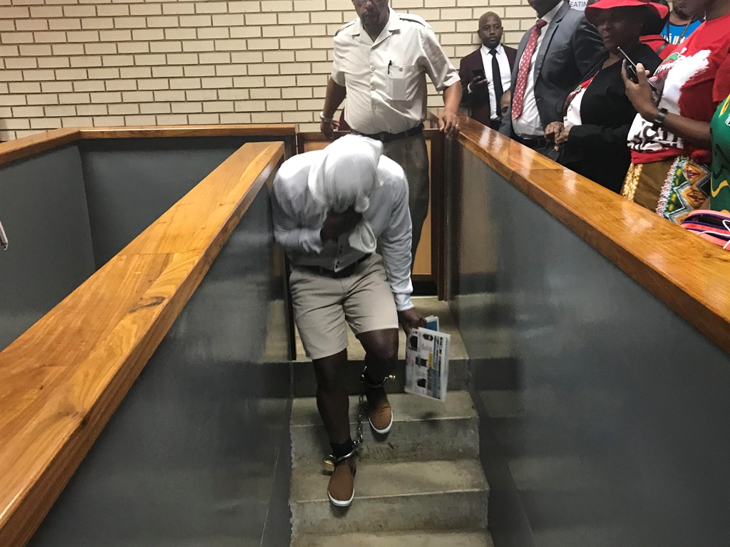 Piet Mabotja returns to the cells after being handed two life sentences for the rape and murder of a woman in the Department of Agriculture, Forestry and Fisheries building in Pretoria in 2017.
