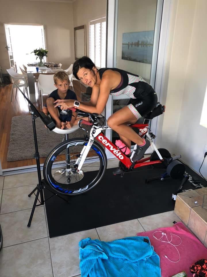 Charlotte Raubenheimer completing the 180.2km cycl