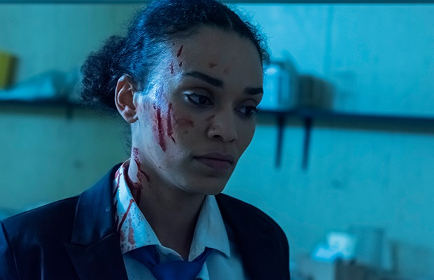 Pearl Thusi in 'Queen Sono.' (Dave Estment/Netflix)