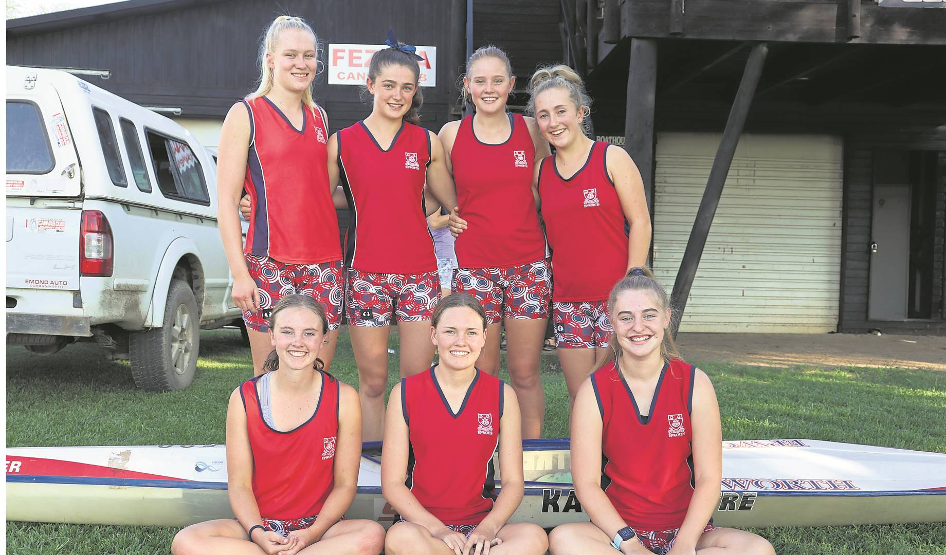 Seven Epworth pupils successfully completed the three-day Dusi Canoe Marathon. Canoeists are (back, from left) Shannon-Ann Parker-Dennison, Frances Forsyth, Lizanne Conradie, Abbigale van Rooyen with (front, from left) Georgina Howard, Robin van Heerden and Emma Maritz.PHOTO: SUPPLIED