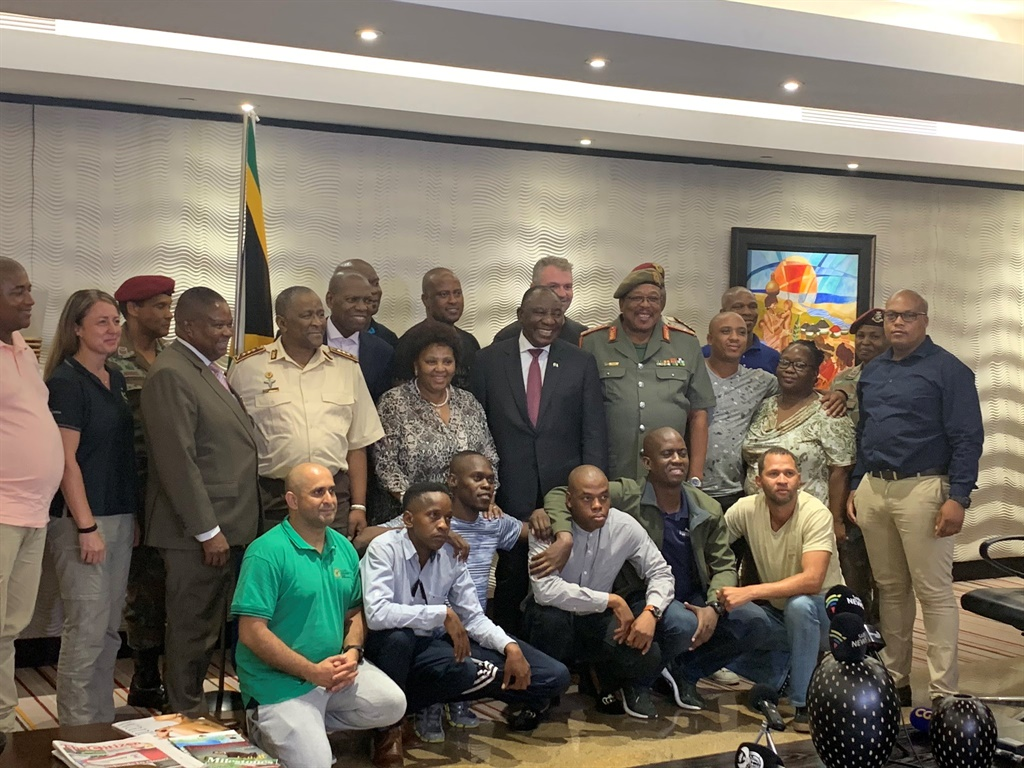 President Cyril Ramaphosa with the team heading to Wuhan to repatriate 122 South African citizens.