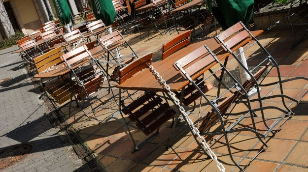 BERLIN: Unoccupied tables and chairs from closed cafes and restaurants can be seen in the Nikolai quarter in Propststraße. (Jens Kalaene/dpa-Zentralbild/ZB (Photo by Jens Kalaene/picture alliance via Getty Images)
