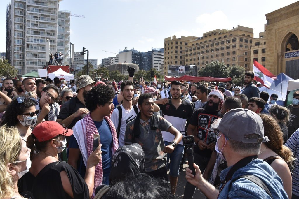 Thousands gather at the Martyrs' Square to protest