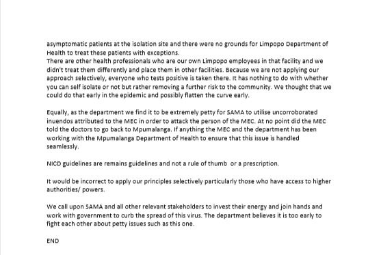 Verklaring van die Limpopo departement van gesondh