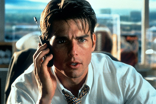 Tom Cruise talks on a phone in a scene from the fi