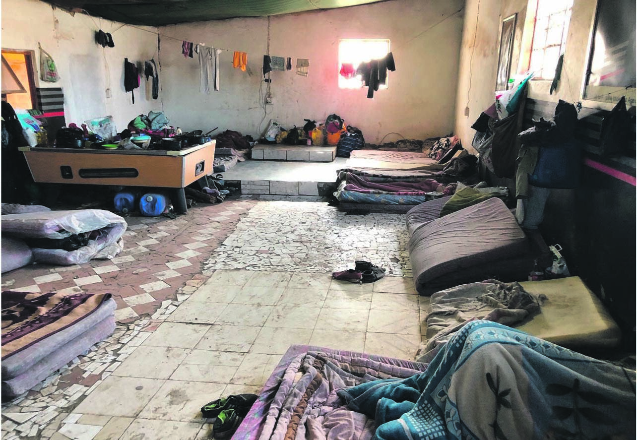 A room which has been converted into a hostel in Mabhida.