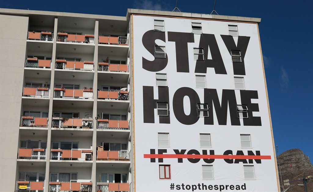 A billboard on an apartment building in Cape Town's CBD. (Nardus Engelbrecht/Gallo Images)