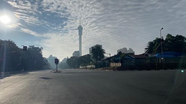 Empty streets in Johannesburg at the start of the lockdown. (Pieter du Toit, News24)