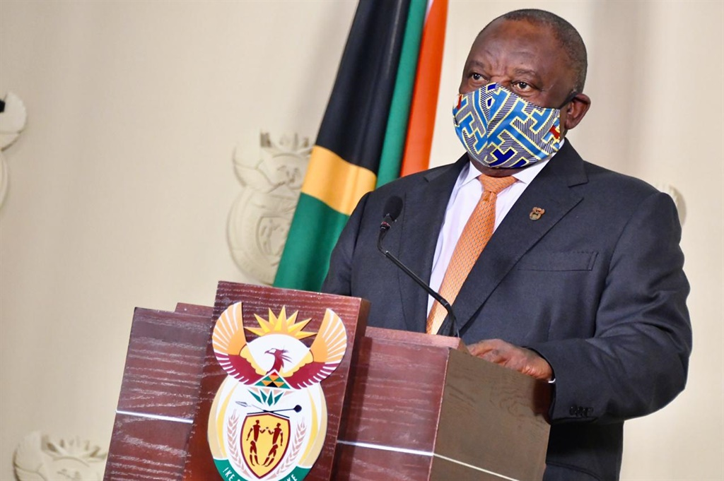 President Cyril Ramaphosa, with his face mask. Picture: GCIS
