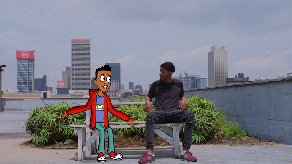 The best of friends: Lwazi Msipha and his cartoon creation, Themba, in the show My Cartoon Friend.  photo: supplied