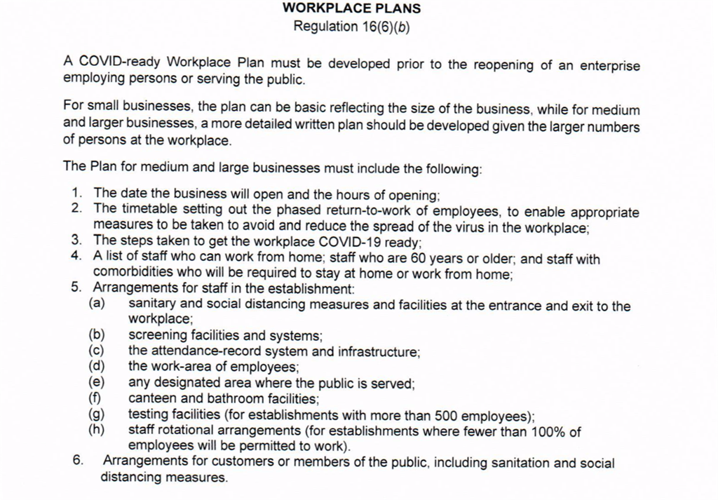 Workplace plan template
