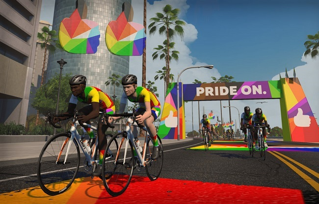 You can make your online cycling and training even more interesting, during Pride Month (Photo: Zwift)