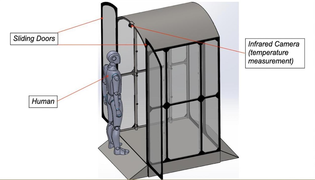 A whole-body disinfecting spray booth