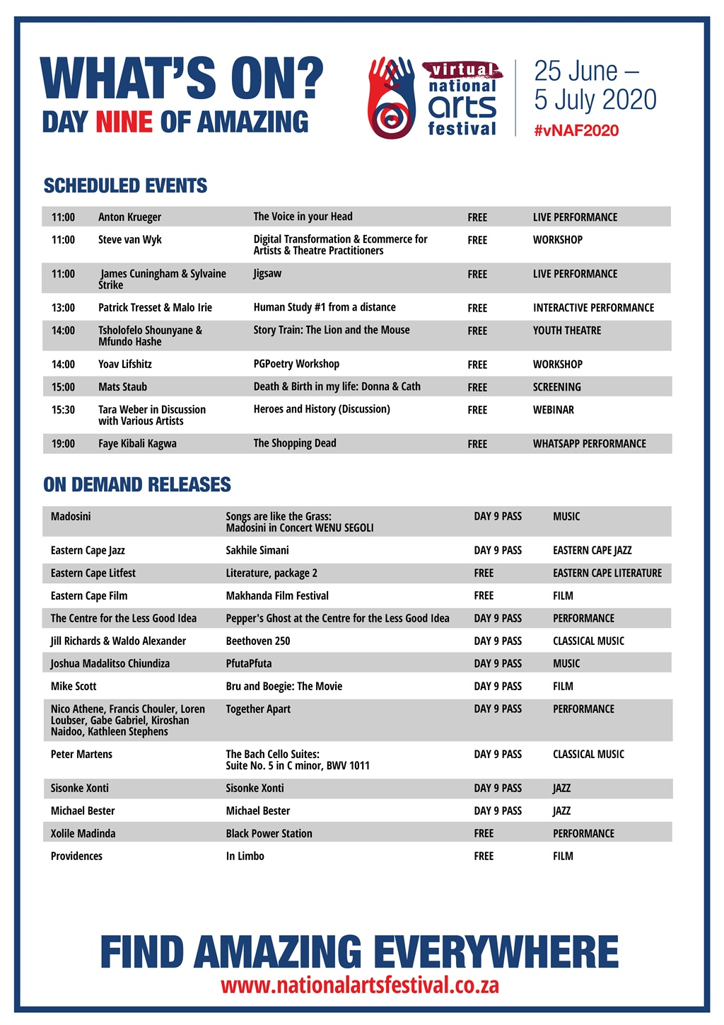 Day 9 programme of the NAF