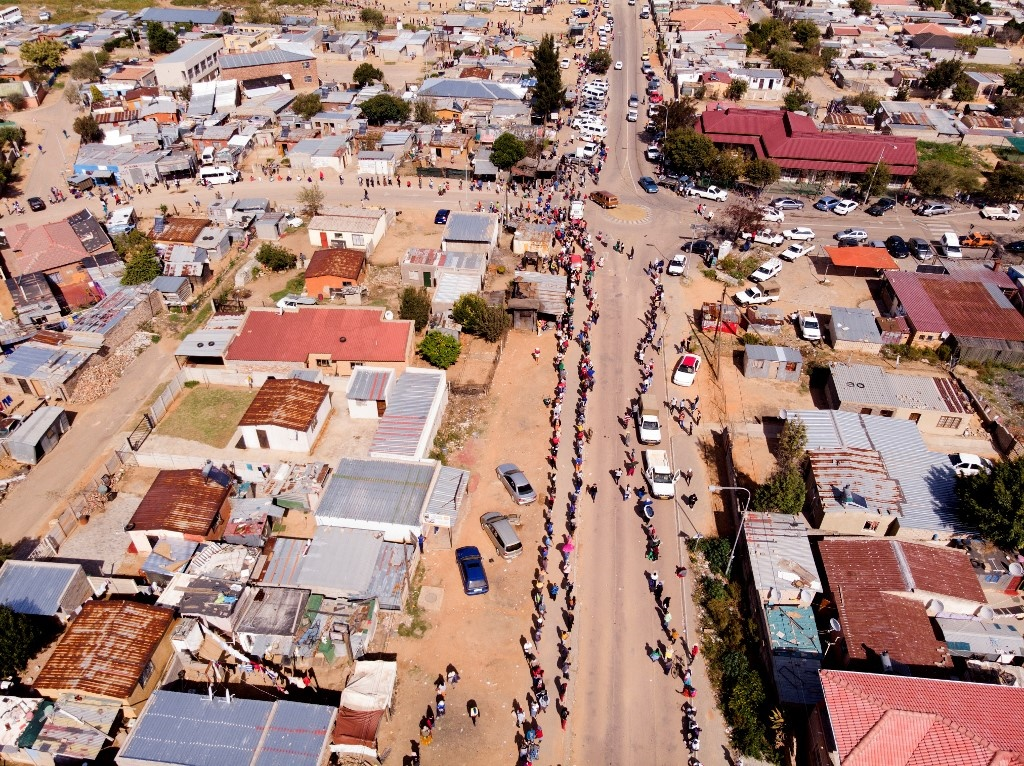 Residents of the Olievenhoutbosch township in Cent