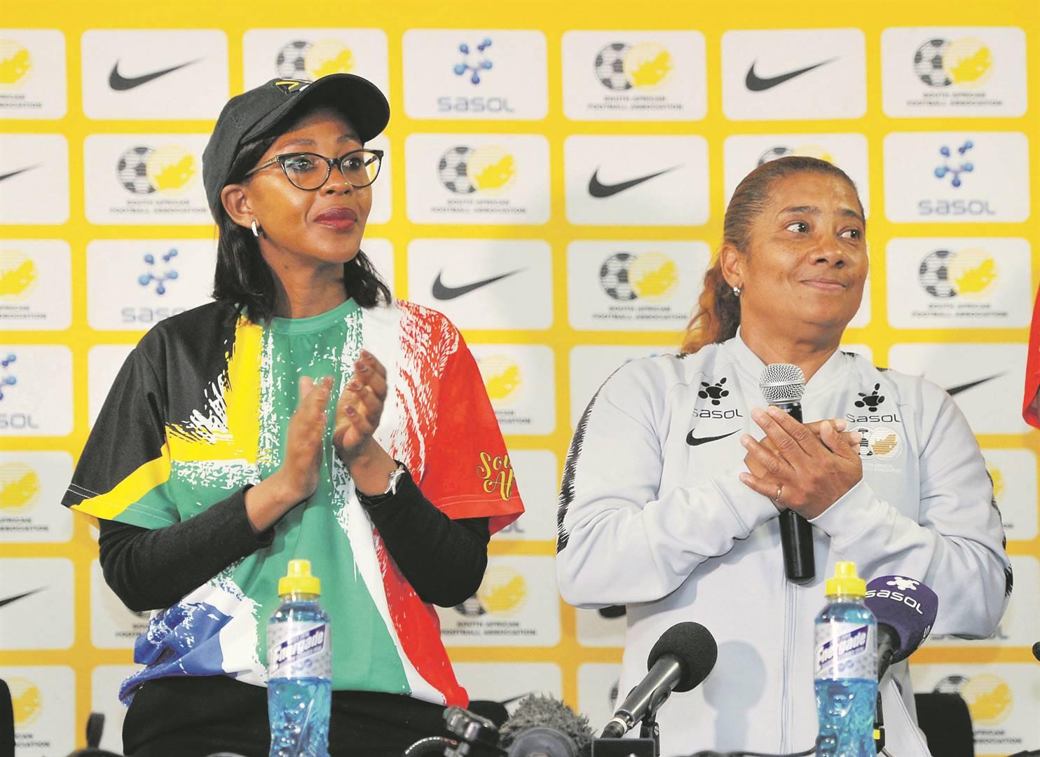 Mbali Hlophe with Banyana Banyana coach Desiree Ellis. Picture: Sydney Mahlangu / BackpagePix