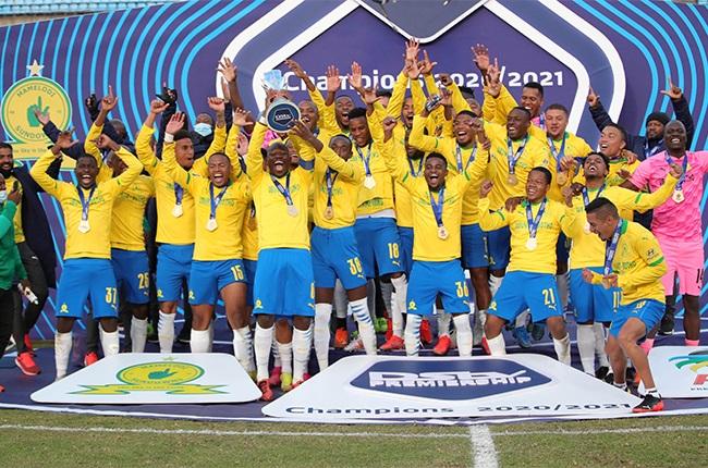 Mamelodi Sundowns lift the DStv Premiership trophy