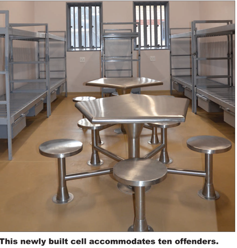 A still of the inside of one of the cells during the launch of the Estcourt Correctional Facility.