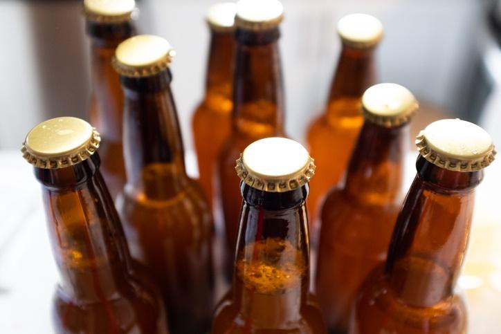 Beer bottles for home-brewed beer.