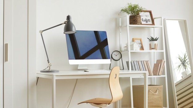 White Background image of empty home office workpl