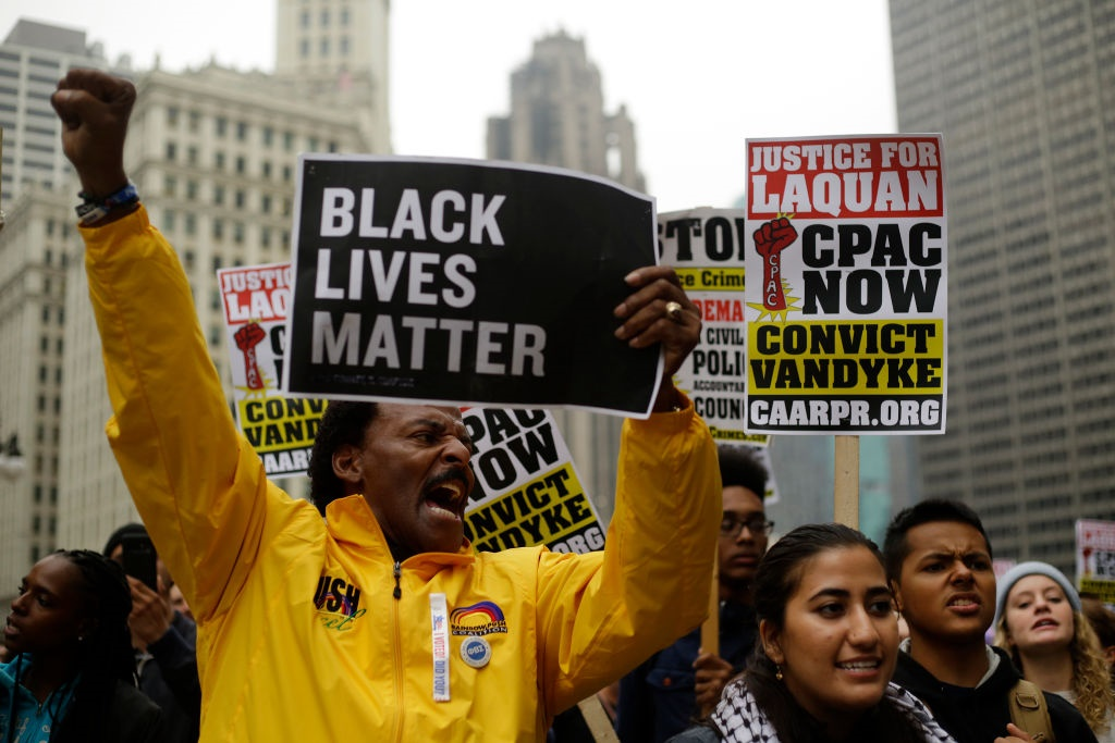 The shooting of black men in the US has inspired the Black Lives Matter movement. (Joshua Lott/Getty Images)