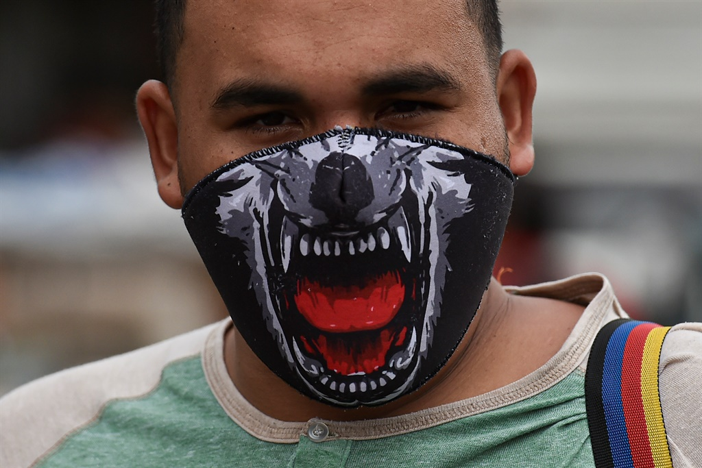 A man wears a face mask as a preventive measure against the spread of the novel coronavirus. (Luis Robayo, AFP)