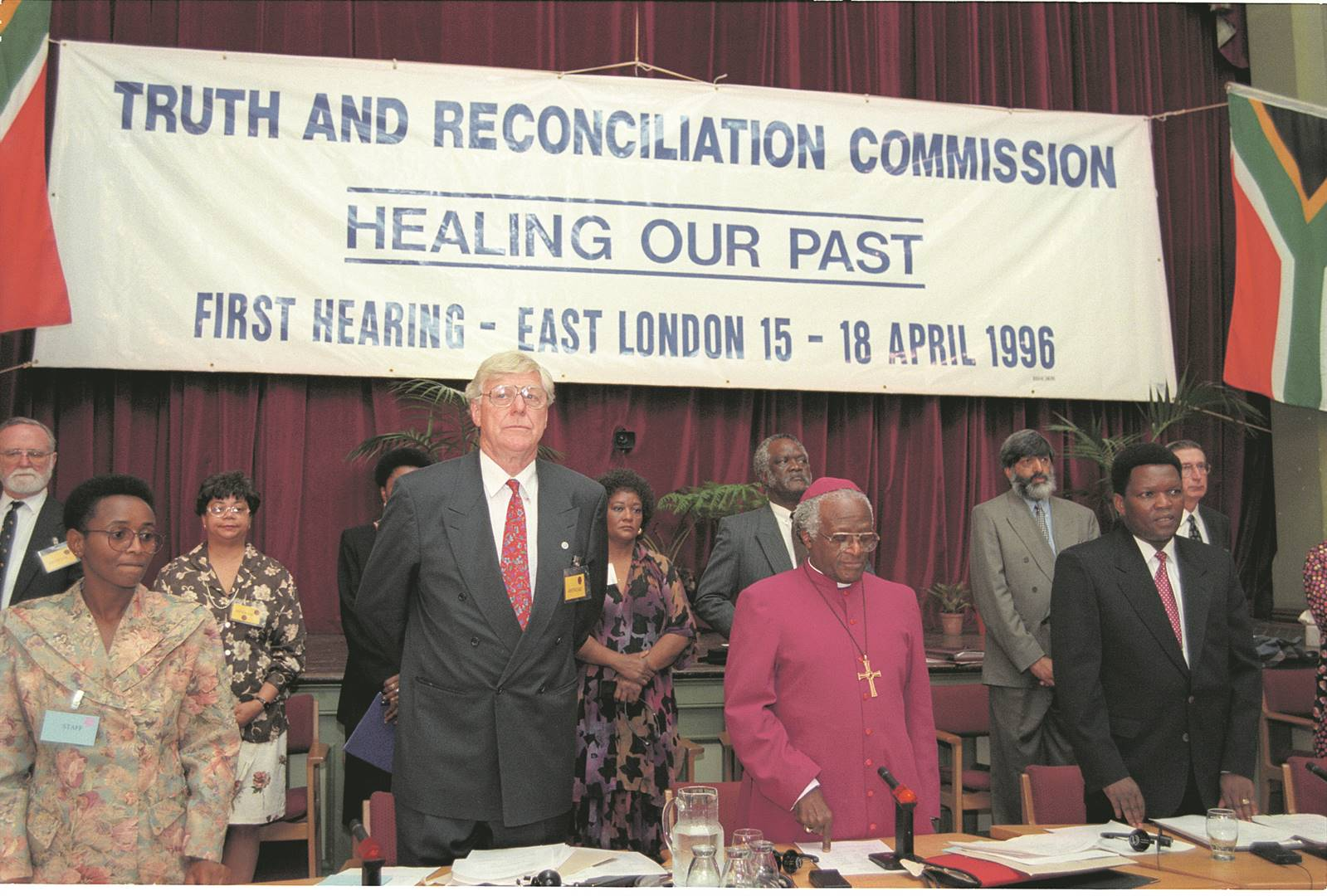 Restorative justice? Archbishop Desmond Tutu, chairperson of the Truth and Reconciliation Commission, at the commission's first hearing in East London in 1996PHOTO: Oryx Media Archive / Gallo Images