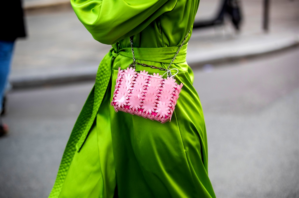 Alice Violier wearing green dress outside Paco Rabanne during Paris Fashion Week - Womenswear Spring Summer 2021 : Day Seven on October 04, 2020 in Paris, France. (Photo by Christian Vierig/Getty Images)
