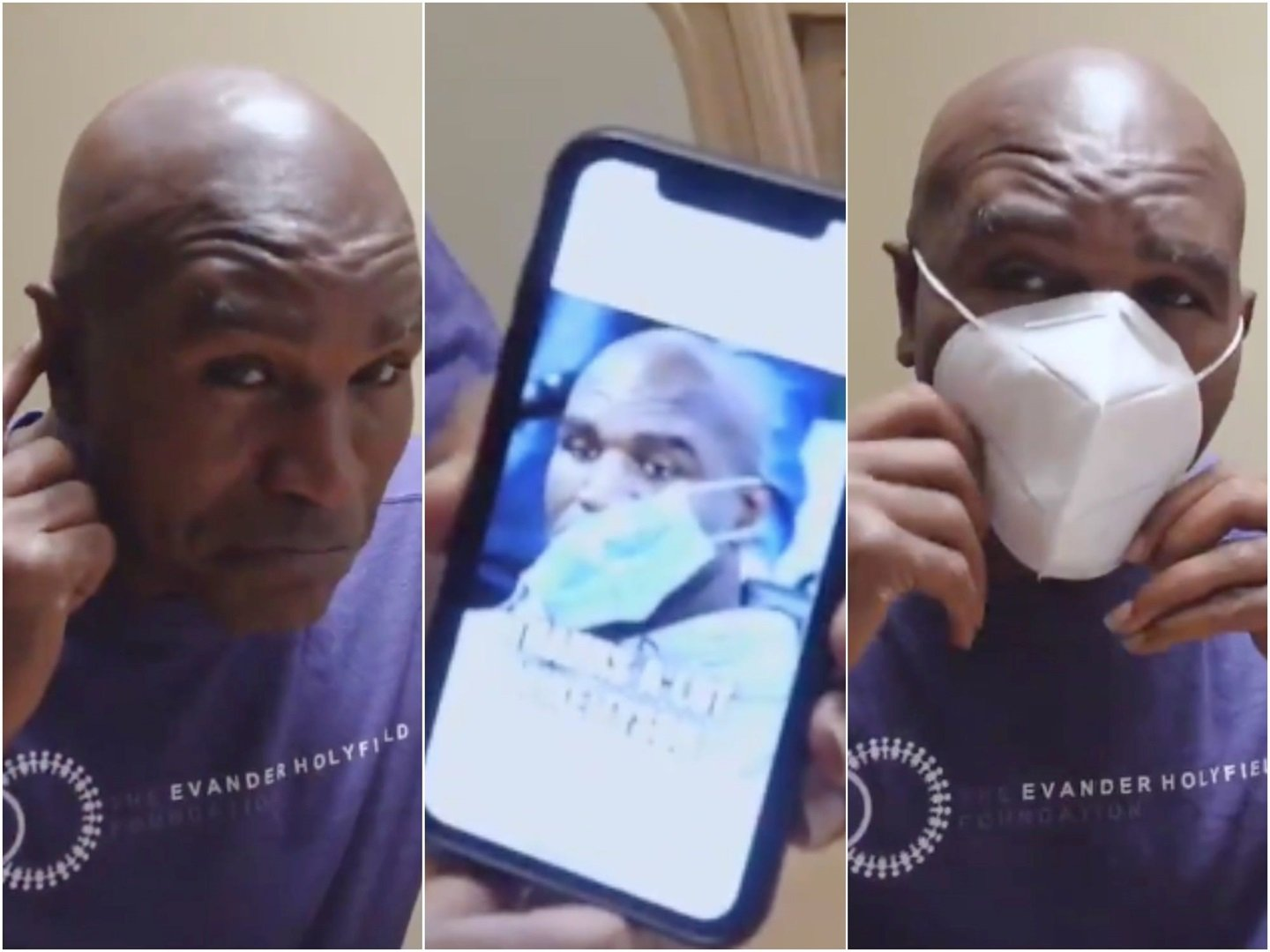 Evander Holyfield debunked meme that he can't wear Covid masks after Mike Tyson bit his ear off - Business Insider South Africa