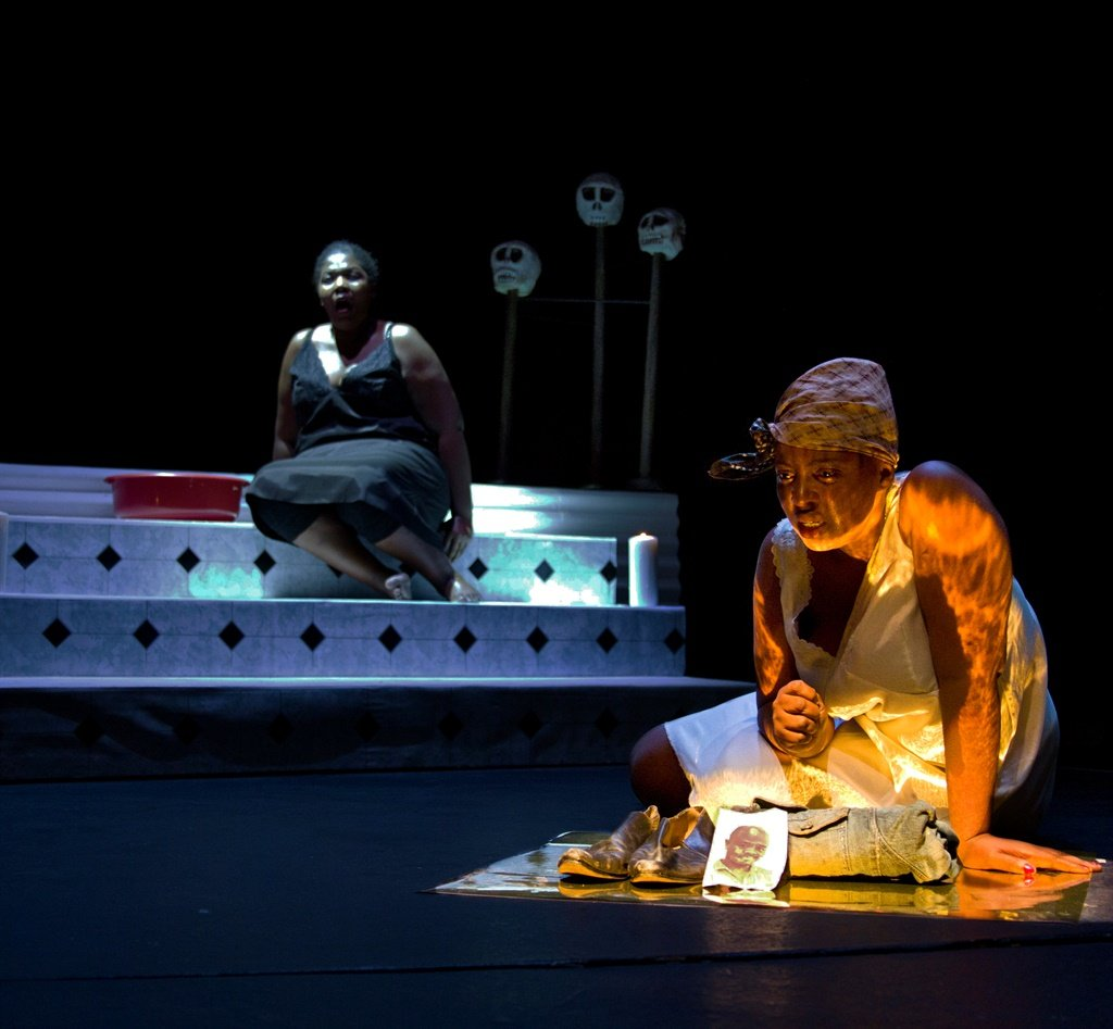 Nombulumko Mngexekeze as Lady Macbeth in a scene from one of the theatre productions that remain online, 'Macbeth'. (Photo by Nicky Newman)