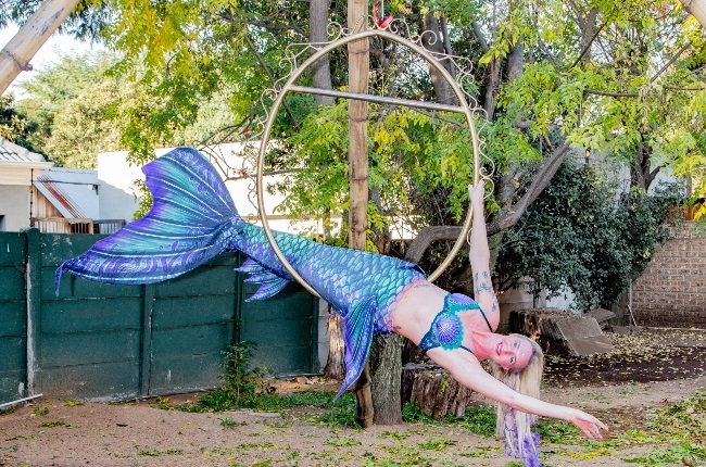 It's a little chilly for the pool in winter, so Candice Baker – or Mermaid Storm as she's known – hangs out in the garden. (PHOTO: Onkgopotse Koloti)