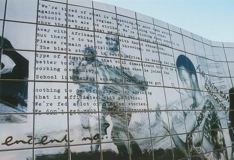 Johannes Phokela's ceramic memorial wall to June 16 (Photo: Ruth Simbao)