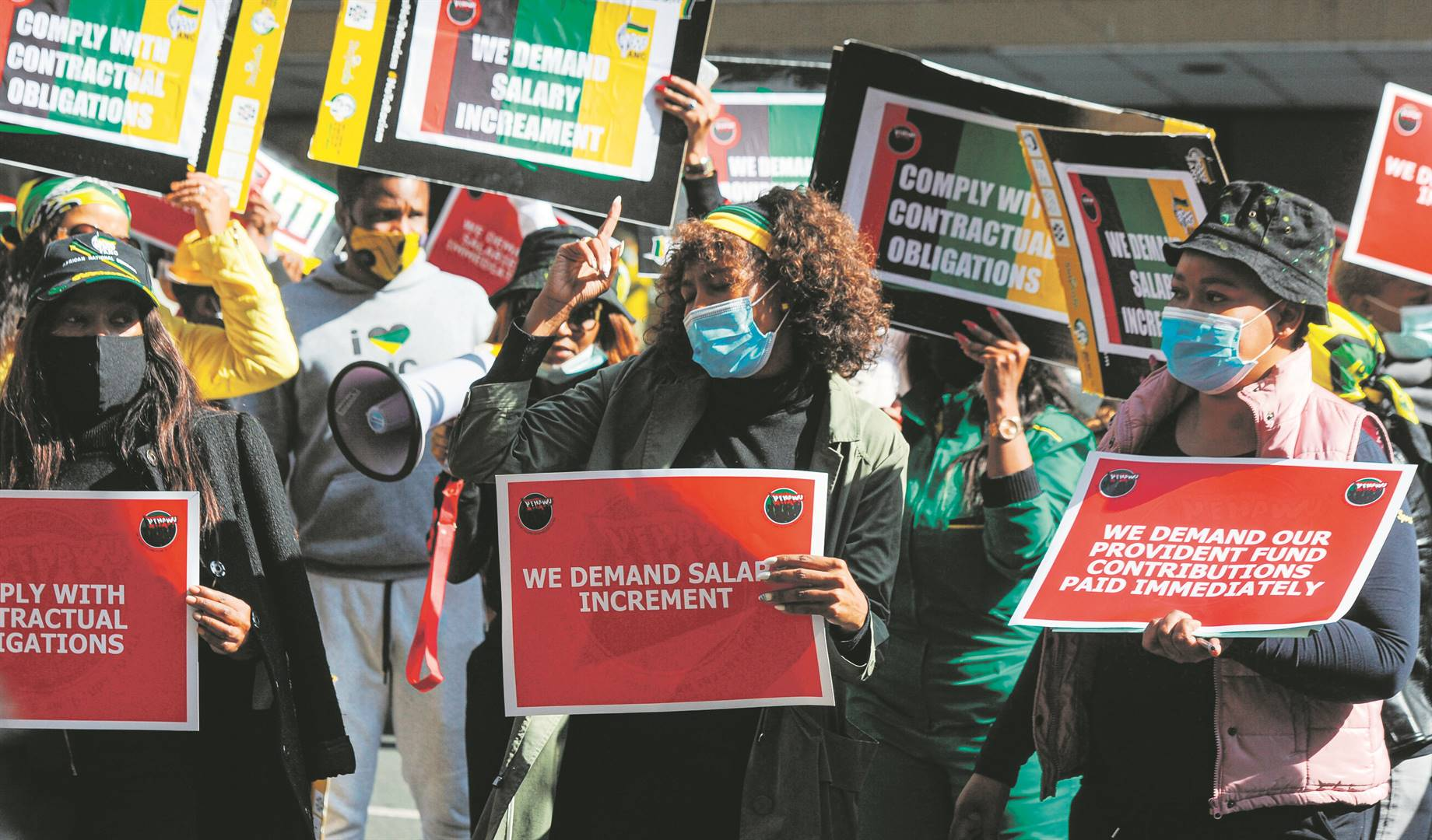 ANC staffers protest outside Luthuli House in Johannesburg this week over nonpayment of salaries, as well as the fact that the party has failed to pay provident fund contributions. Photo: Rosetta Msimango
