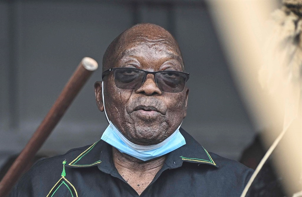 Former President Jacob Zuma addresses his supporters outside his house on July 04, 2021 in Nkandla, South Africa. (Photo by Gallo Images/Volksblad/Mlungisi Louw)