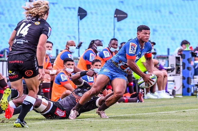 Blitzbok Kurt-Lee Arendse celebrated his Bulls debut with a brace of tries