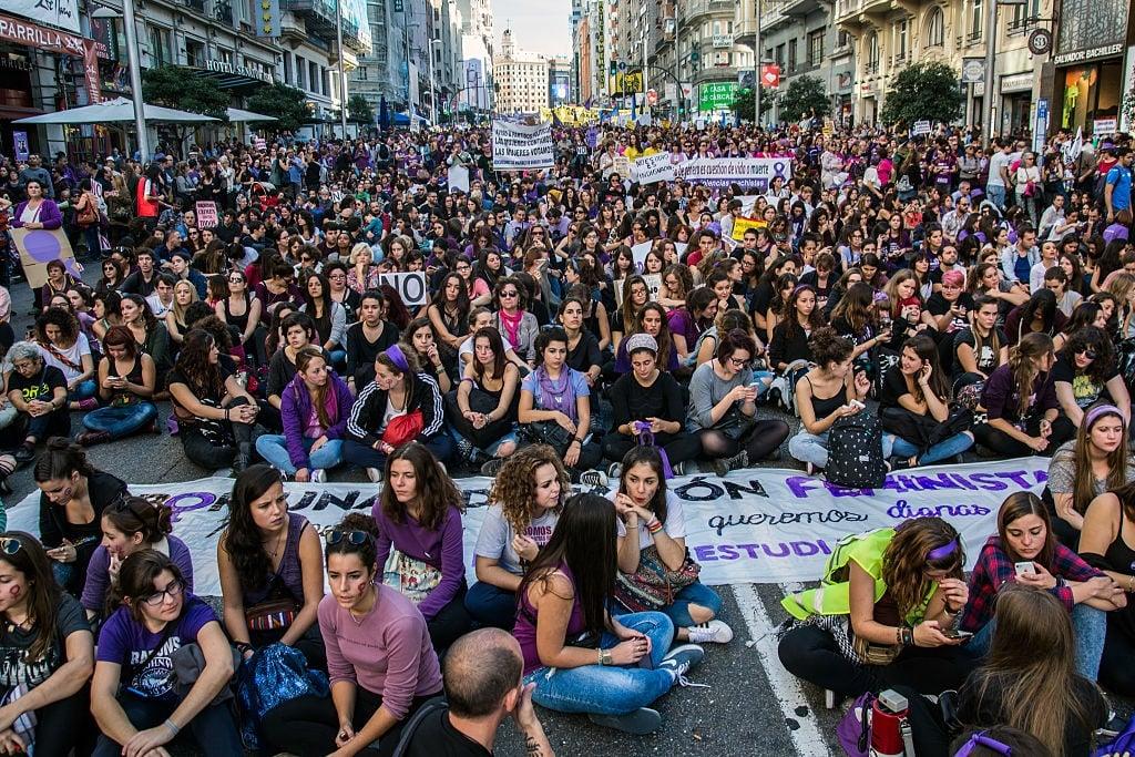 MADRID, SPAIN - 2015/11/07: Thousands demonstratin