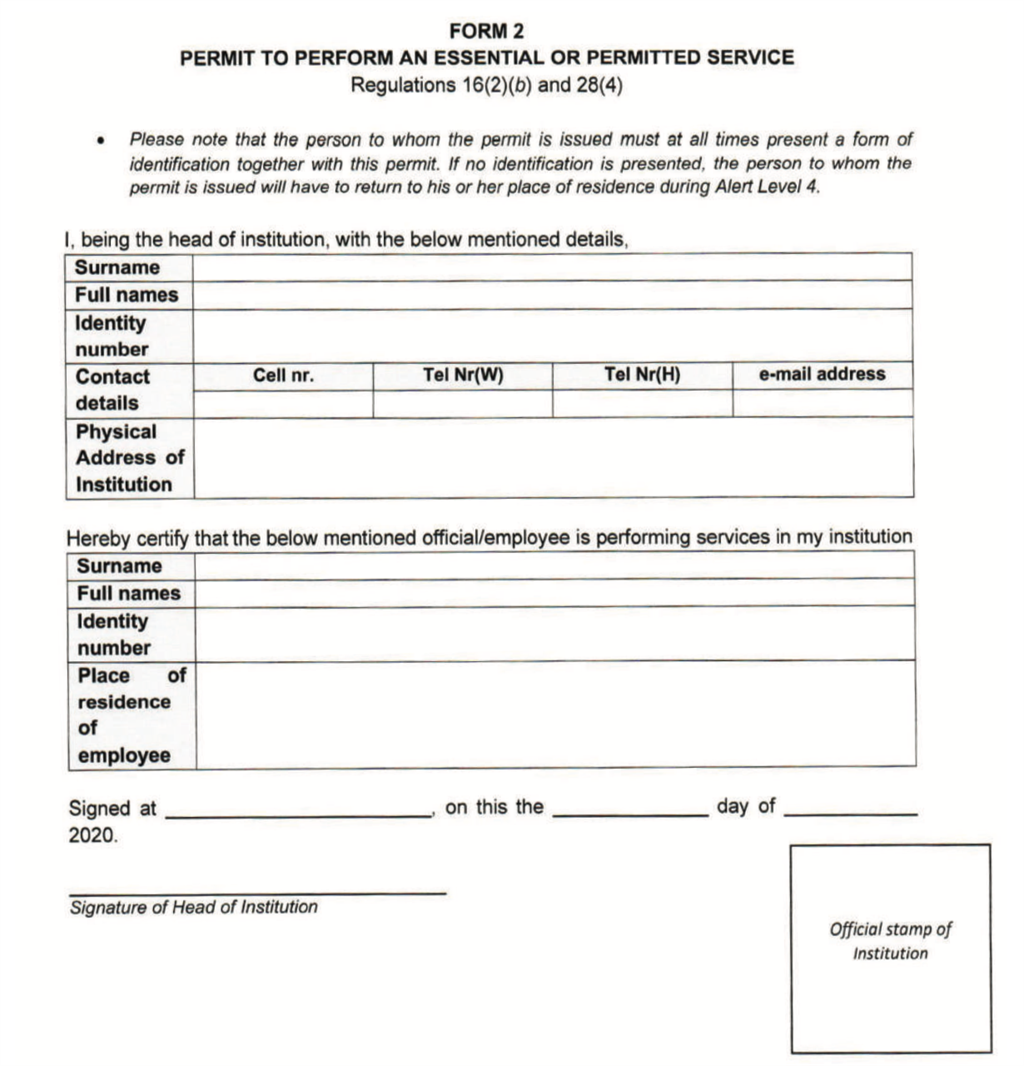 Travel permit form for Level 3