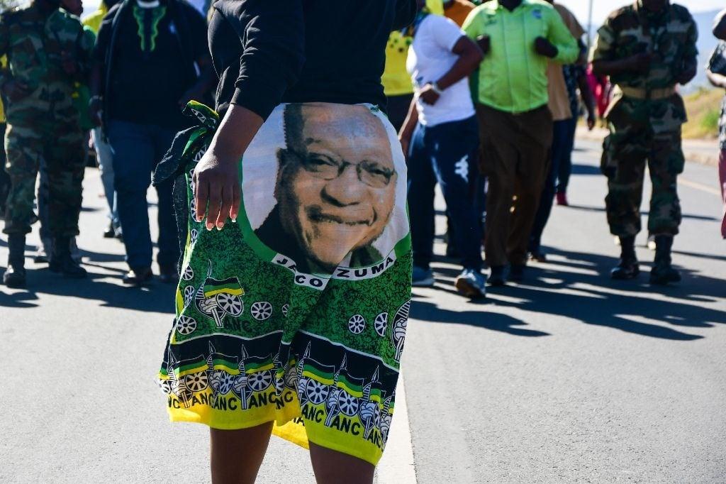 A group of Jacob Zuma supporters walking towards the Zuma homestead on 1 July 2021 in Nkandla, KwaZulu-Natal.